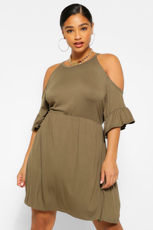 Plus Open Shoulder Ruffle Smock Dress 7