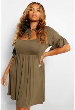 Khaki Plus Jersey Ruffle Smock Dress