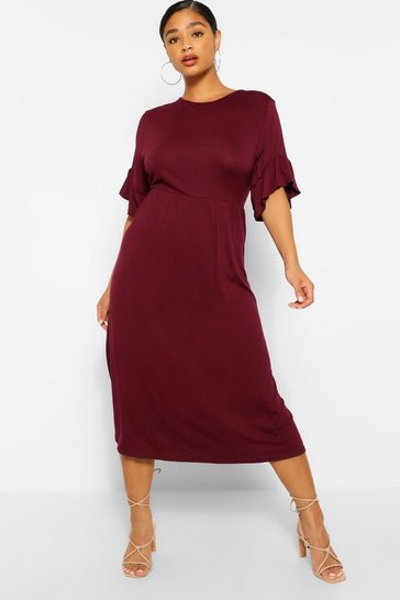 Berry Plus Jersey Ruffle Midi Smock Dress