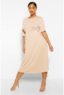 Stone beige Plus Jersey Ruffle Midi Smock Dress