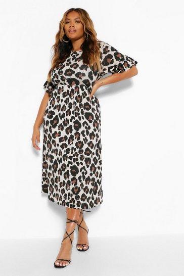 Stone beige Plus Leopard Ruffle Midi Smock Dress