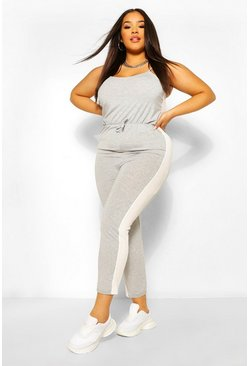 Grey Plus Side Strip Jersey Jumpsuit