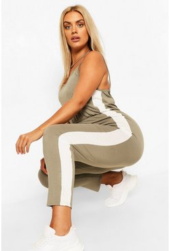 Khaki Plus Side Strip Jersey Jumpsuit