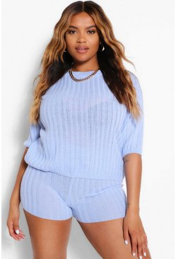 Blue Plus Knitted Rib Top & Cycle Short Two-Piece