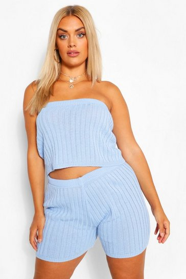 Blue Plus Knitted Rib Bandeau & Cycle Short Set