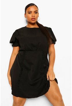 Black Plus Puff Sleeve Ruffle Trim Skater Dress