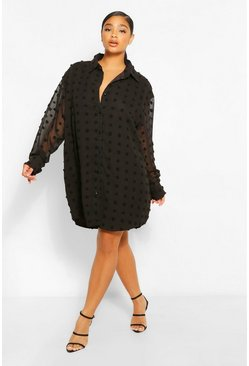 Black Plus Dobby Textured Long Sleeve Shirt Dress