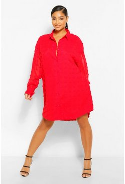 Red Plus Dobby Textured Long Sleeve Shirt Dress