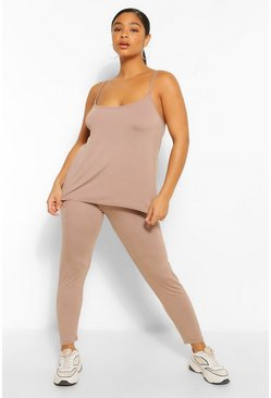 Mocha beige Plus Swing Cami and Legging Set