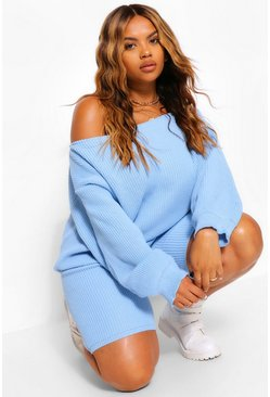 Baby blue blue Plus Slash Neck Knitted Co-Ord