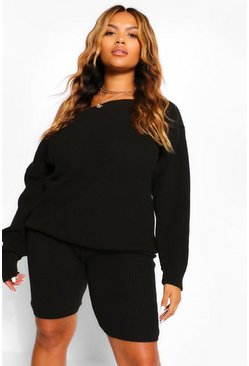 Black Plus Slash Neck Knitted Co-Ord