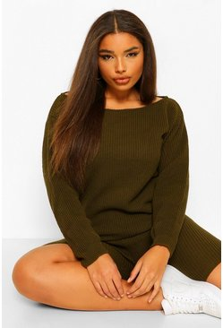 Khaki Plus Slash Neck Knitted Two-Piece