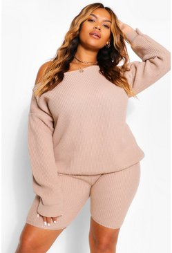 Stone beige Plus Slash Neck Knitted Co-Ord