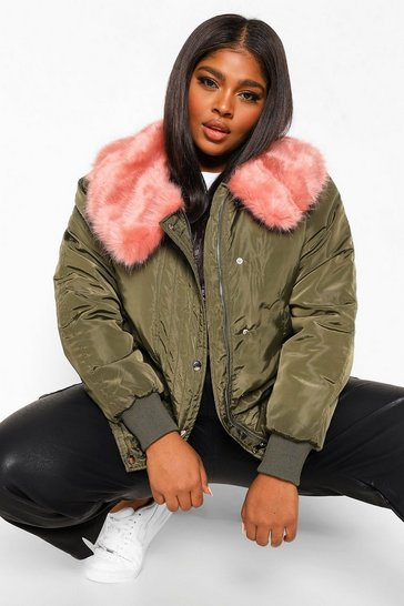 Khaki Plus Faux Fur Hooded Padded Bomber Jacket