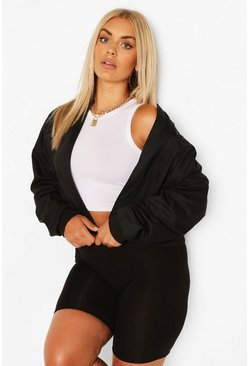 Black Plus Woven Zip Detail Bomber Jacket