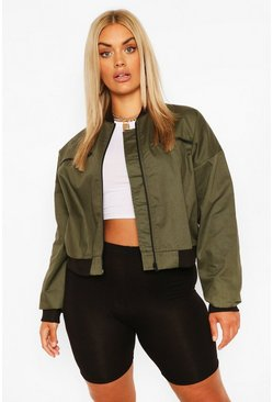 Khaki Plus Woven Zip Detail Bomber Jacket