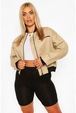 Stone beige Plus Woven Zip Detail Bomber Jacket