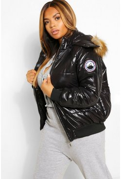 Black Plus Faux Fur Trim High Shine Puffer Jacket