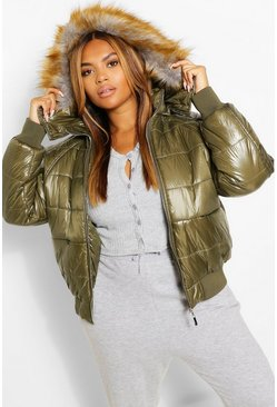 Khaki Plus Faux Fur Trim High Shine Puffer Jacket