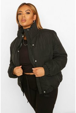 Black Plus Funnel Neck Puffer Jacket