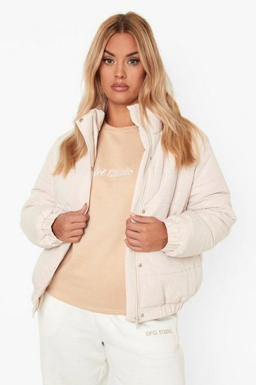 Stone beige Plus Funnel Neck Puffer Jacket
