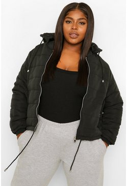 Black Plus Hooded Padded Jacket