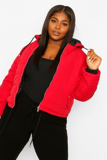 Red Plus Hooded Padded Jacket