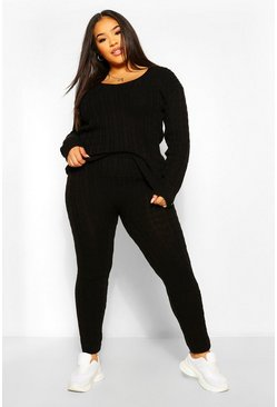Black Plus Cable Knit V Neck Knitted Co-Ord