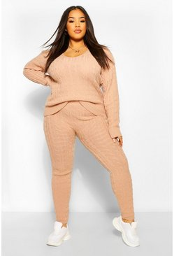 Blush pink Plus Cable Knit V Neck Knitted Co-Ord