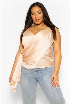 Champagne beige Plus Draped Tie Side Cami