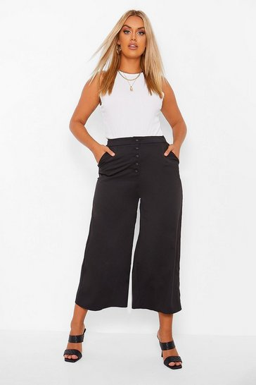 Black Plus Wide Leg Button Up Culotte