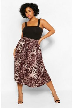 Brown Plus Leopard Print Pleated Midi Skirt