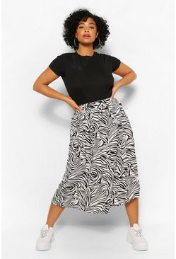Black Plus Zebra Print Midi Pleated Satin Skirt