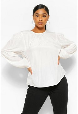 Ivory Plus puff Sleeve Blouse
