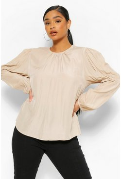 Taupe Plus puff Sleeve Blouse