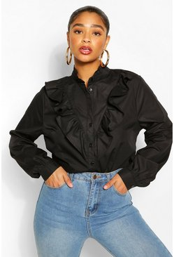 Black Plus Ruffle Placket Shirt