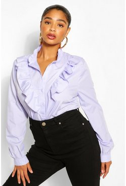 Blue Plus Ruffle Placket Shirt