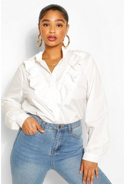 Ivory Plus Ruffle Placket Shirt