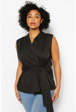 Black Plus Tie Front Sleeveless Wrap Front Blouse