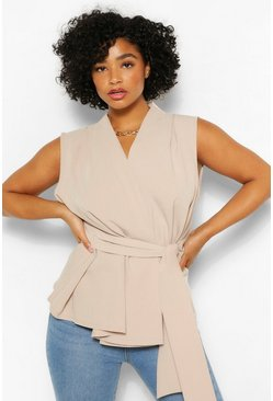 Stone beige Plus Tie Front Sleeveless Wrap Front Blouse