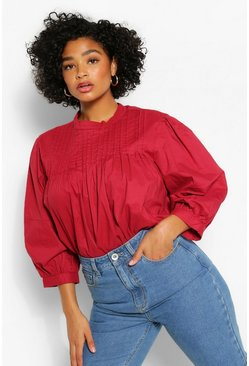 Berry Plus Pintucked Smock Blouse