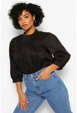 Black Plus Pintucked Smock Blouse