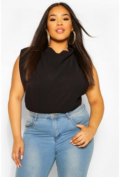 Black Plus Draped Cowl High Neck Sleeveless Blouse