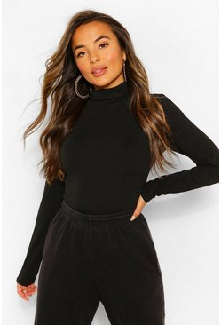 Black Petite Basic Turtle Neck Bodysuit