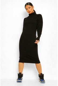 Black Petite Knitted Roll Neck Midi Dress