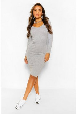 Grey Petite Basic V-Neck Midi Dress