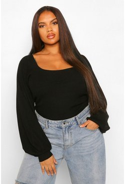 Black Plus Puff Sleeve Knitted Jumper
