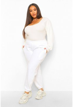 Cream white Plus Puff Sleeve Knitted Jumper