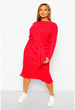 Berry Plus Rib Knit Self Belted Midi Dress