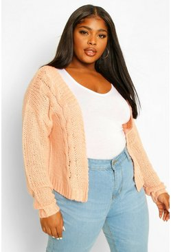 Blush pink Plus Cable Knitted Cardigan